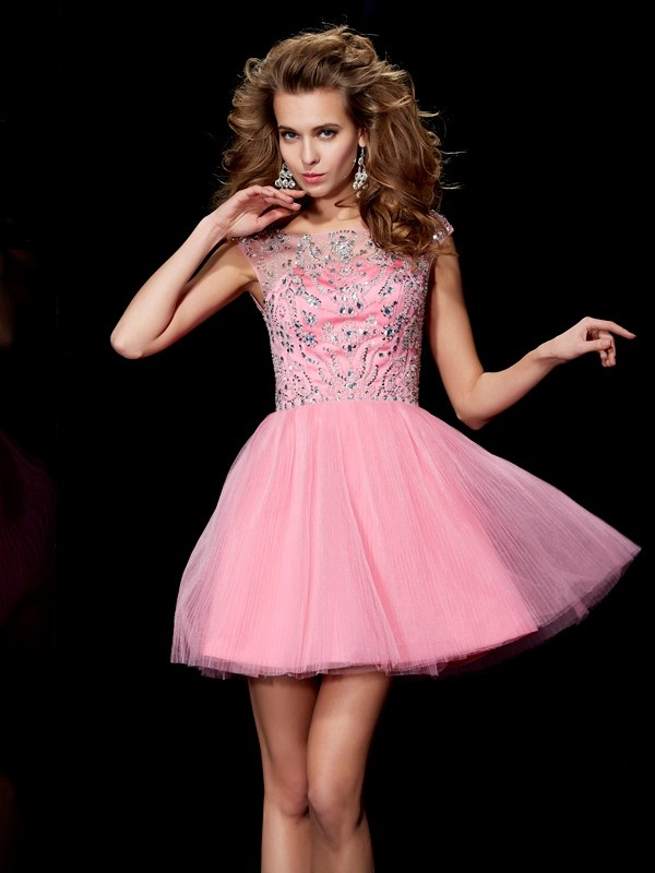 A-Line/Princess Bateau Satin Sleeveless With Beading Short Dresses