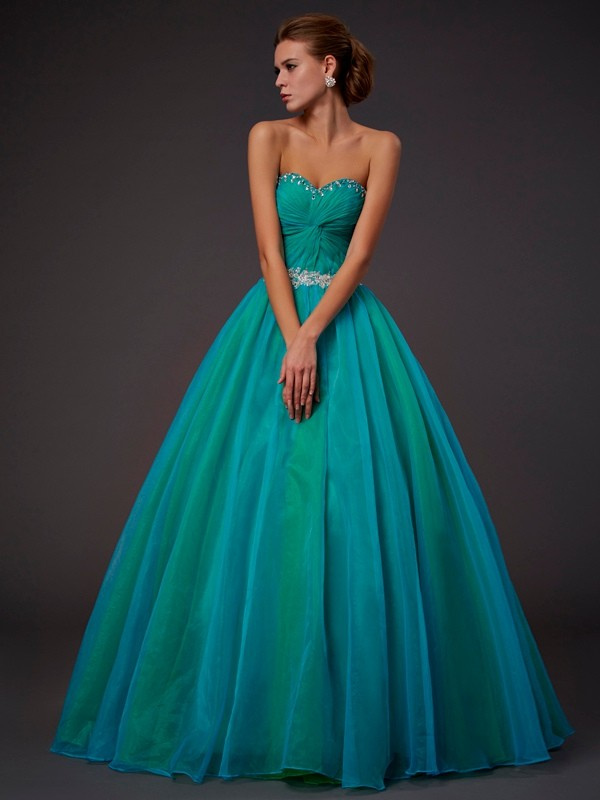 Ball Gown Sweetheart With Beading Sleeveless Long Tulle Dresses