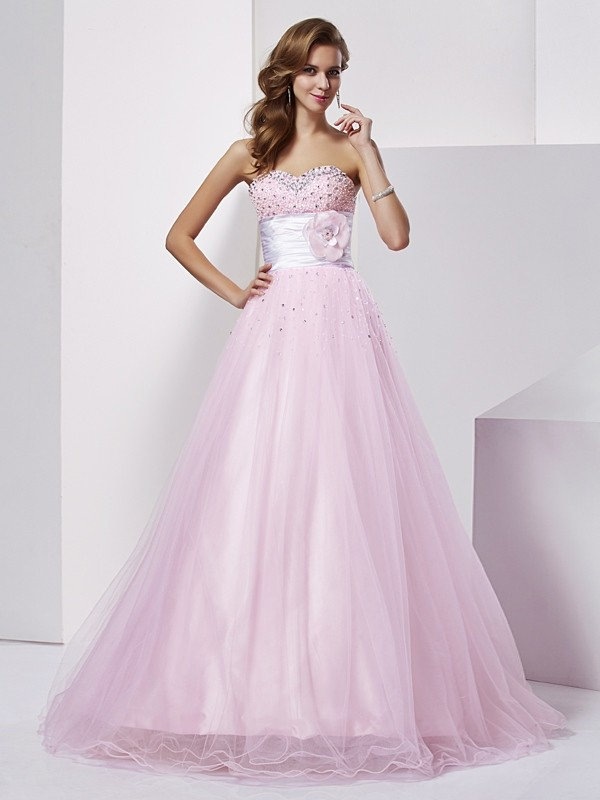 Ball Gown Strapless Elastic Woven Satin Sleeveless With Beading Long Dresses