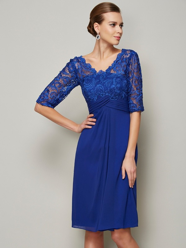 Fashion Sheath/Column V-neck 1/2 Sleeves Lace Short Chiffon Mother of the Bride Dresses