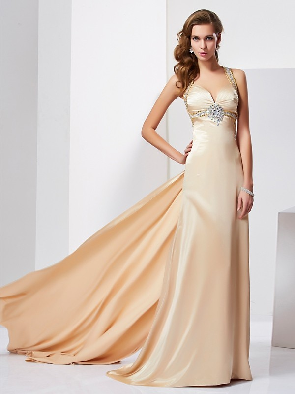 Sheath/Column Halter Silk like Satin Sleeveless With Ruffles Long Dresses