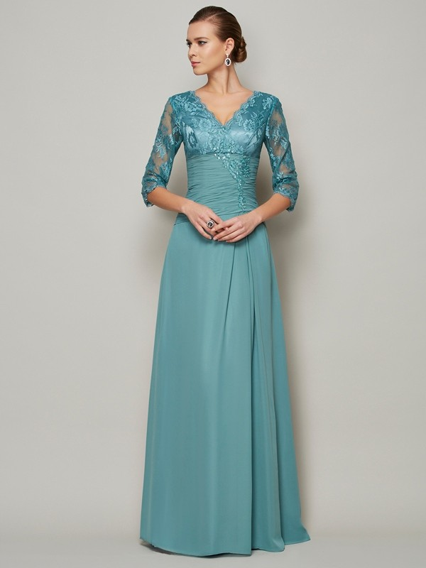 A-Line/Princess V-neck 3/4 Sleeves Lace Long Chiffon Mother of the Bride Dresses