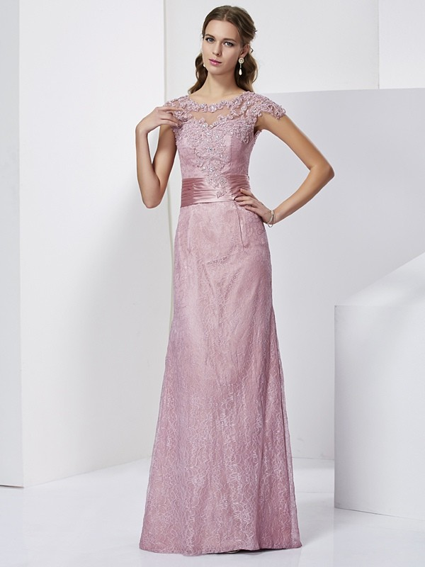 Sheath/Column High Neck Elastic Woven Satin Short Sleeves Lace Long Mother of the Bride Dresses