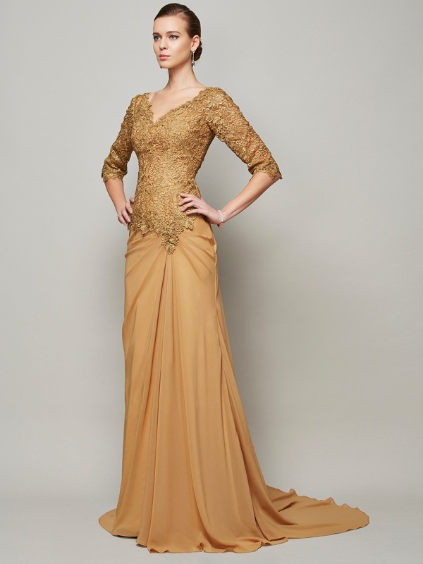 Perfect Sheath/Column V-neck 1/2 Sleeves Floor-Length Lace Chiffon Dresses