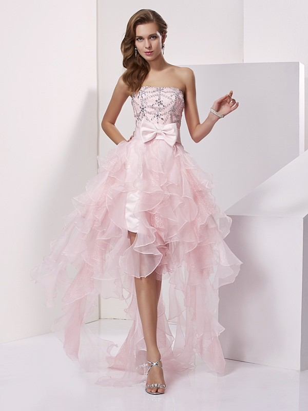A-Line/Princess Strapless Sleeveless With Beading High Low Organza Dresses