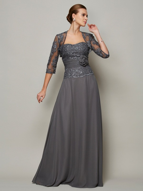 A-Line/Princess Chiffon Sleeveless With Applique Sweetheart Long Mother of the Bride Dresses