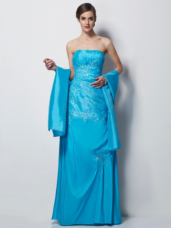 A-Line/Princess Sweetheart Taffeta Sleeveless With Applique Long Mother of the Bride Dresses
