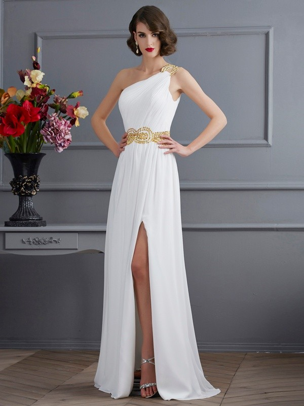 One-Shoulder A-Line/Princess Sleeveless With Ruched Long Chiffon Dresses
