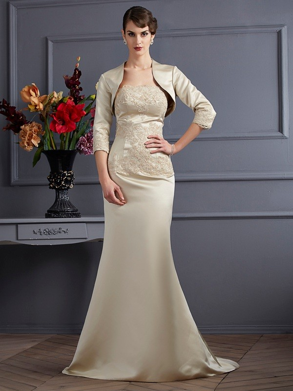 Strapless Trumpet/Mermaid Sleeveless Long Satin Mother of the Bride Dresses With Applique