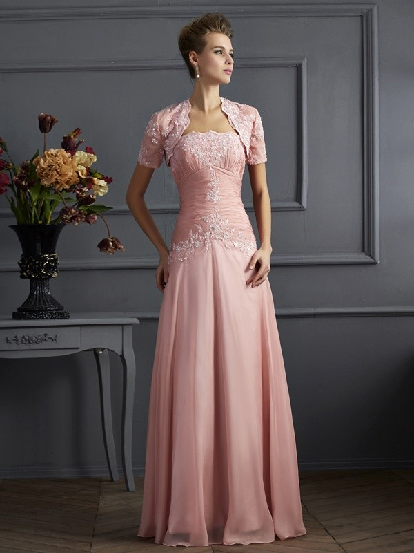 A-Line/Princess Sweetheart Chiffon Sleeveless With Applique Long Mother of the Bride Dresses