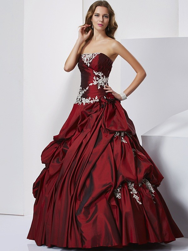 Ball Gown Sweetheart Taffeta Sleeveless With Beading Long Quinceanera Dresses