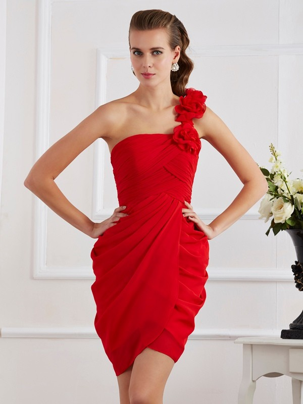 Sheath/Column Hand-Made Flower One-Shoulder Sleeveless Short Chiffon Dresses