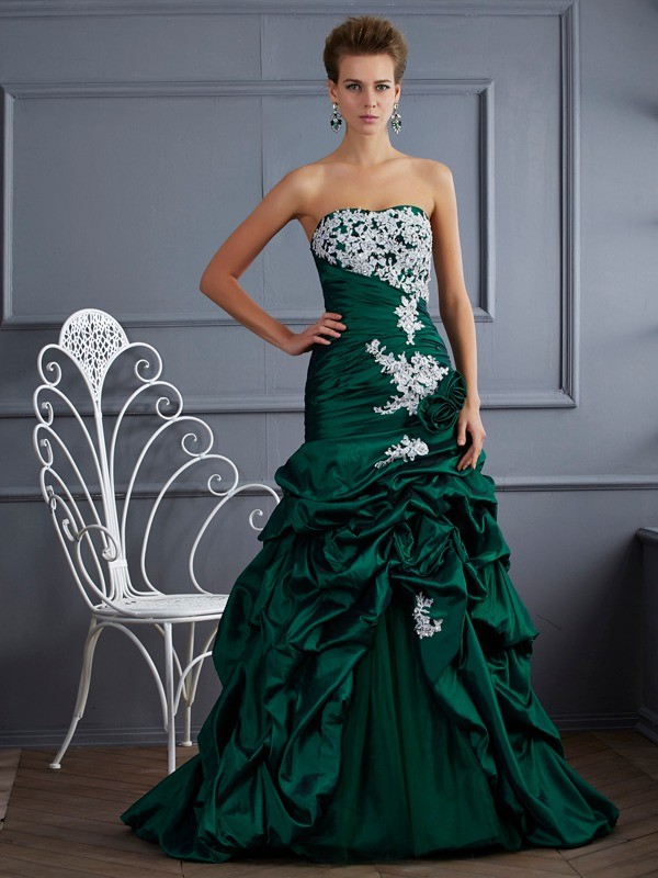 Ball Gown Strapless Taffeta Sleeveless With Applique Long Quinceanera Dresses