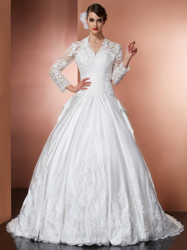 A-Line/Princess V-neck Long Sleeves With Applique Long Satin Wedding Dresses