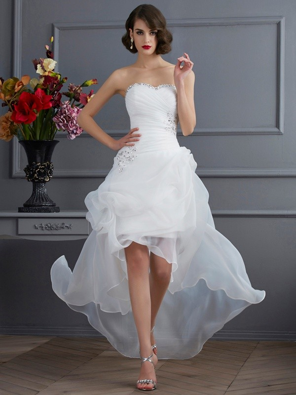 A-Line Sweetheart Sleeveless High Low Organza Wedding Dresses With Beading