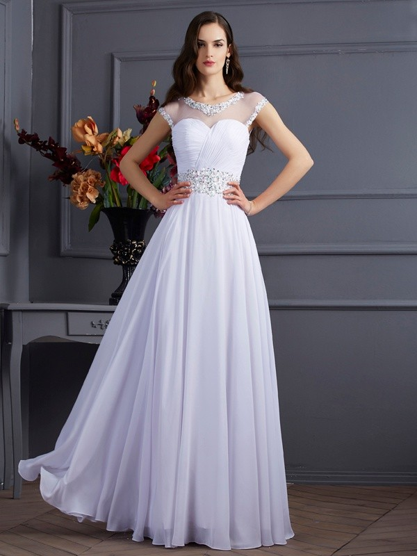 Elegant A-Line/Princess Bateau Short Sleeves Long Chiffon Dresses With Beading