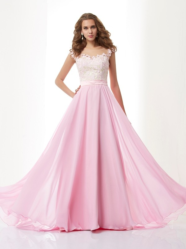 Straps A-Line/Princess Sleeveless Beading Applique Long Chiffon Dresses