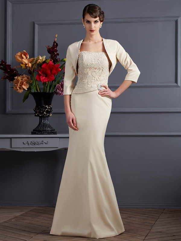 Sheath/Column Square Elastic Woven Satin Sleeveless Lace Long Mother of the Bride Dresses