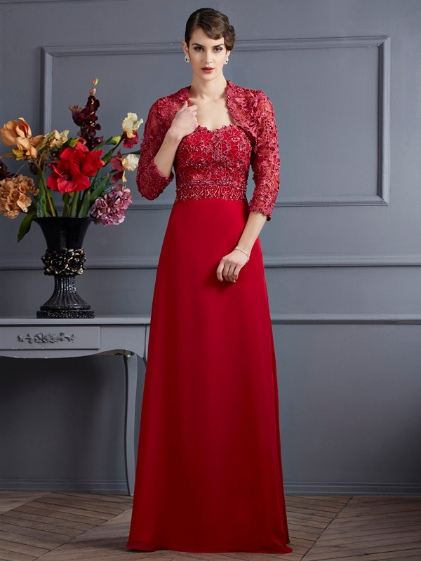A-Line/Princess Chiffon Sweetheart Sleeveless With Beading Long Mother of the Bride Dresses