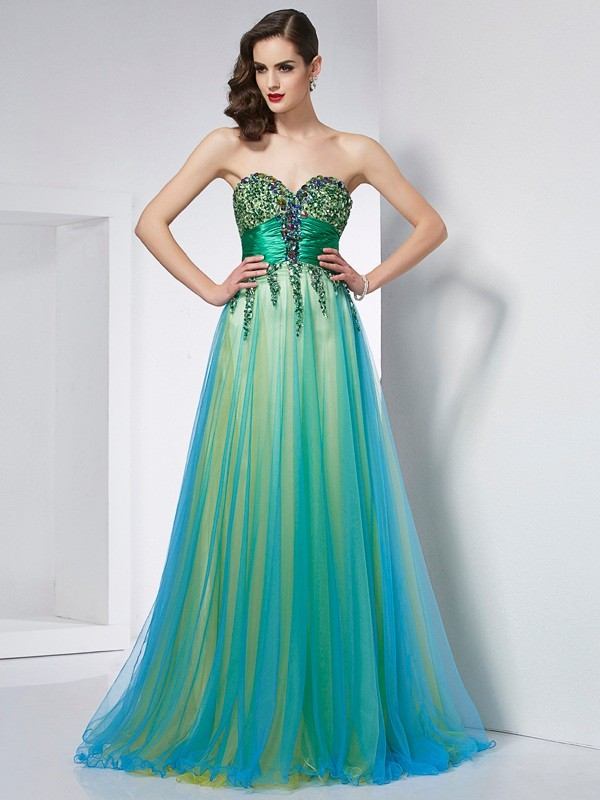 Ball Gown Sweetheart Elastic Woven Satin Sleeveless With Ruffles Long Dresses