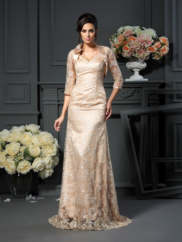 A-Line/Princess V-neck Elastic Woven Satin Lace Sleeveless Long Mother of the Bride Dresses
