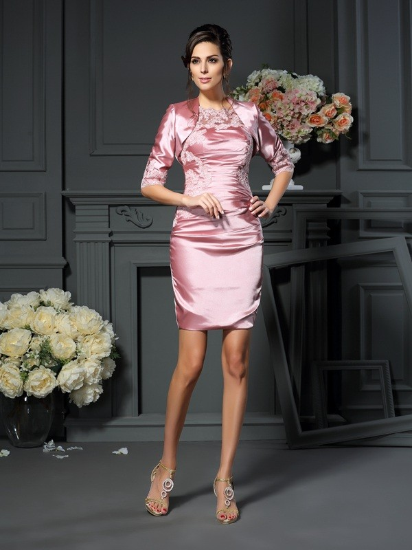 Sheath/Column Scoop Elastic Woven Satin Sleeveless Short Mother of the Bride Dresses With Applique