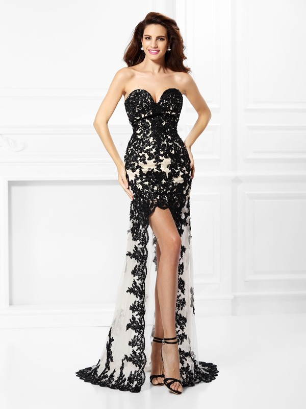 A-Line/Princess Sweetheart Elastic Woven Satin Lace Sleeveless High Low Dresses