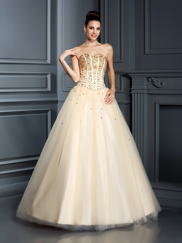 Ball Gown Sweetheart Satin With Beading Sleeveless Long Quinceanera Dresses