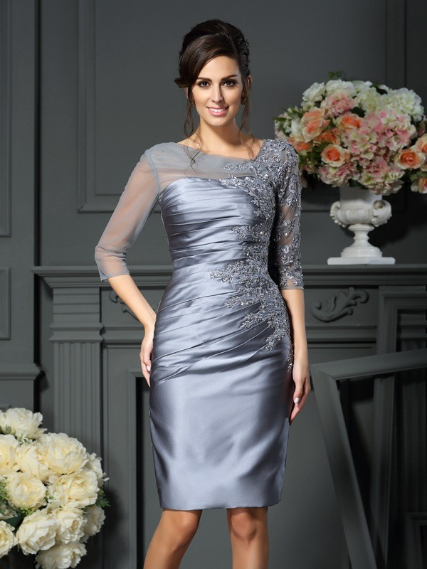 Sheath/Column Scoop Satin With Beading 1/2 Sleeves Knee-Length Mother of the Bride Dresses