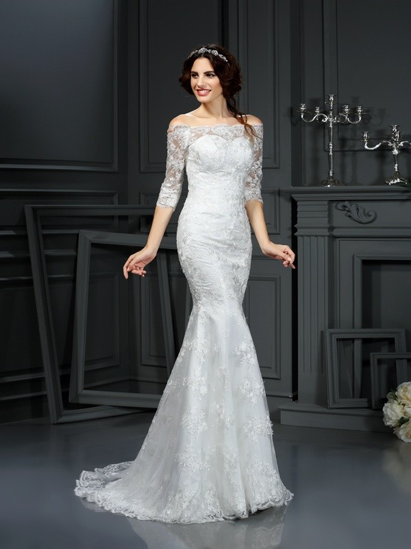 Off-the-Shoulder Sheath/Column Lace 1/2 Sleeves Long Lace Wedding Dresses