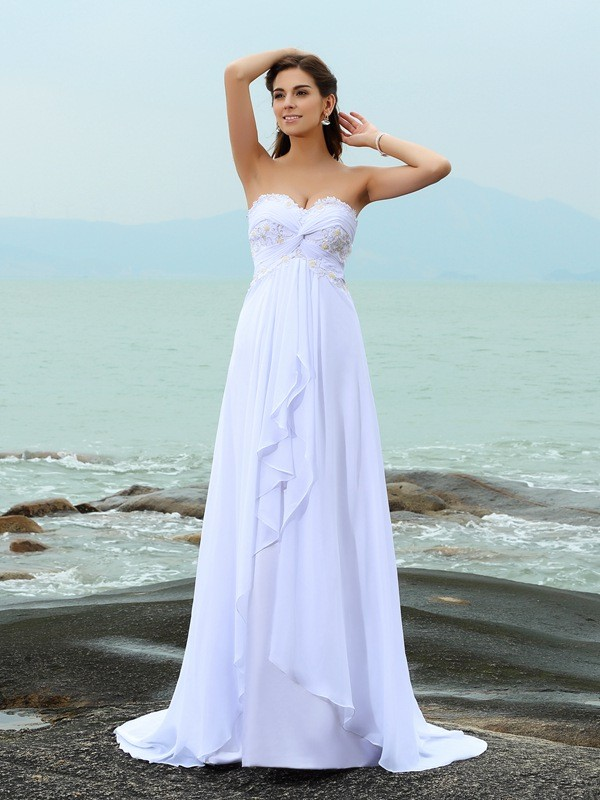 Sweetheart A-Line/Princess Beading Sleeveless Long Chiffon Beach Wedding Dresses