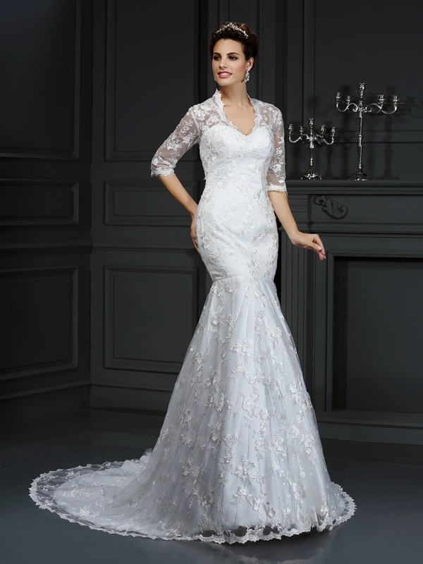 Special Trumpet/Mermaid V-neck Lace 1/2 Sleeves Long Lace Wedding Dresses