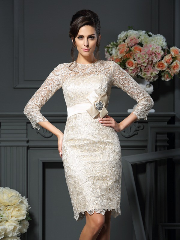 Sheath/Column Scoop Lace Bowknot 3/4 Sleeves Short Mother of the Bride Dresses