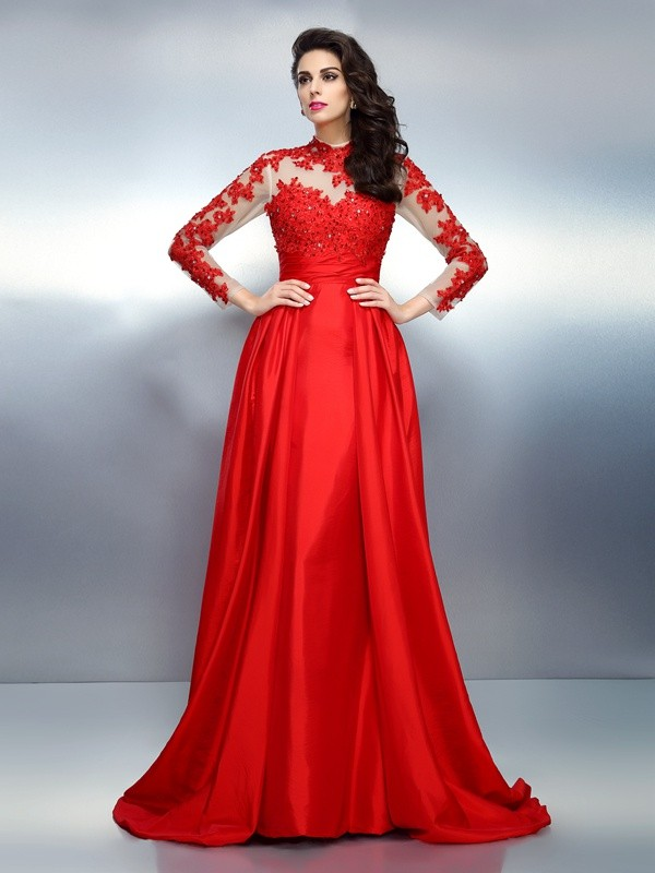 A-Line/Princess High Neck Long Sleeves Long Satin Dresses With Applique