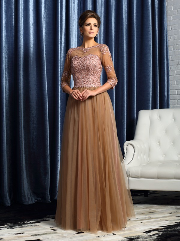 A-Line/Princess Scoop Elastic Woven Satin 3/4 Sleeves Long Mother of the Bride Dresses