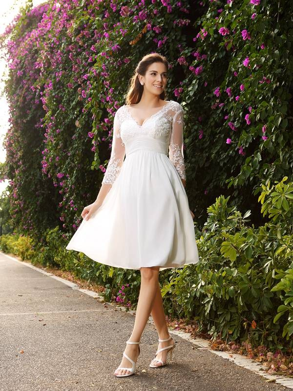 Attractive A-Line/Princess V-neck 3/4 Sleeves Knee-Length Chiffon Wedding Dresses