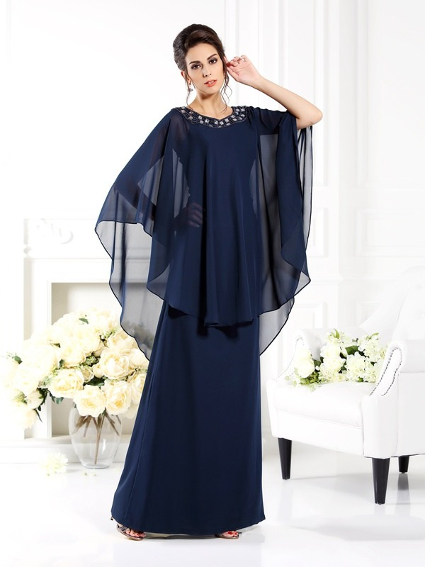 Wonderful A-Line/Princess Scoop 3/4 Sleeves Long Chiffon Mother of the Bride Dresses