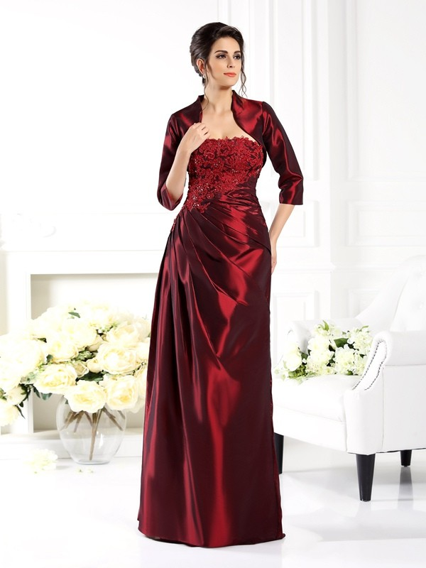 A-Line/Princess Strapless Taffeta With Applique 1/2 Sleeves Long Mother of the Bride Dresses