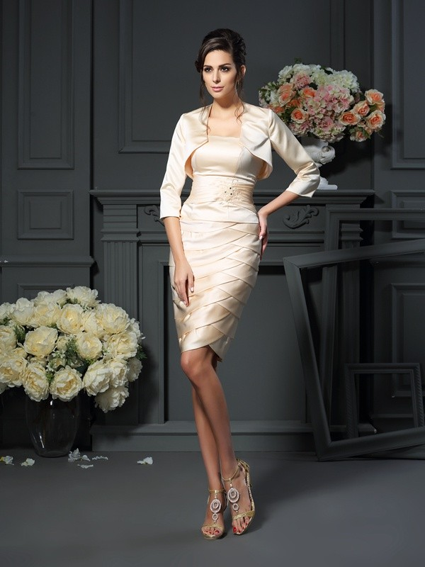 Sheath/Column Strapless Satin With Pleats Sleeveless Short Mother of the Bride Dresses