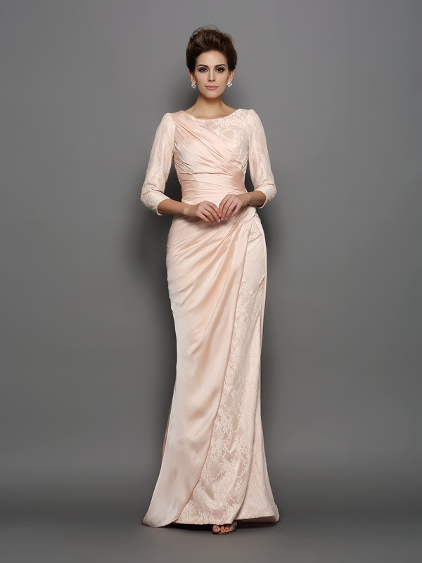 Trumpet/Mermaid Bateau Lace 3/4 Sleeves Chiffon Long Mother of the Bride Dresses