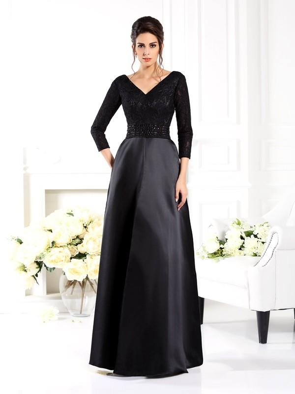 A-Line/Princess V-neck 3/4 Sleeves Long Satin Mother of the Bride Dresses With Beading