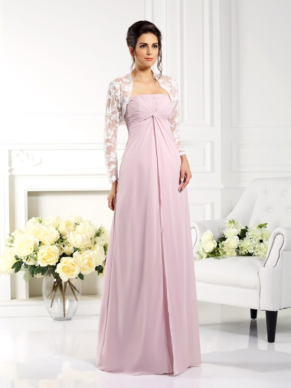 Strapless A-Line/Princess Lace Sleeveless Long Chiffon Mother of the Bride Dresses