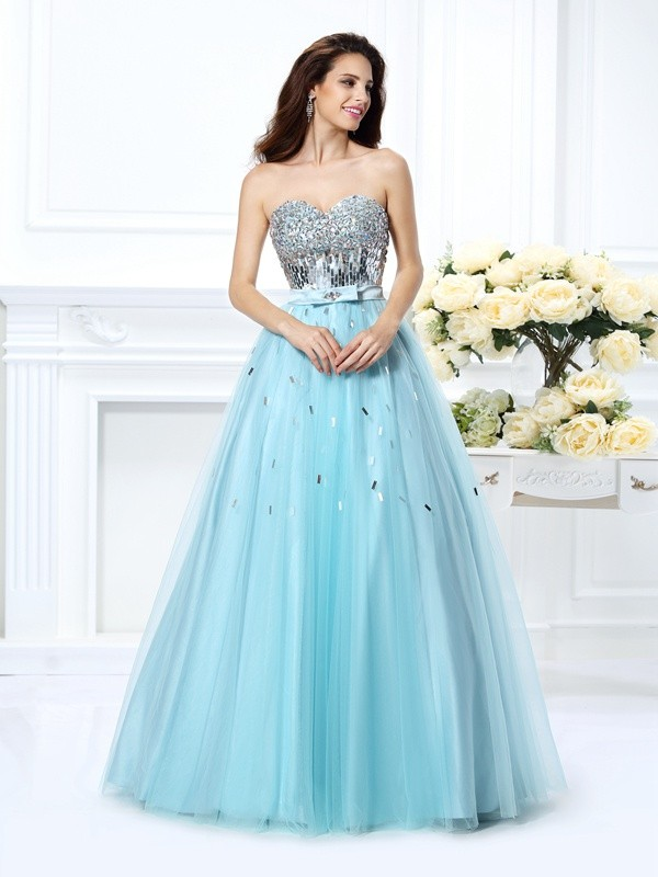 Ball Gown Sweetheart Satin With Beading Sleeveless Paillette Long Quinceanera Dresses