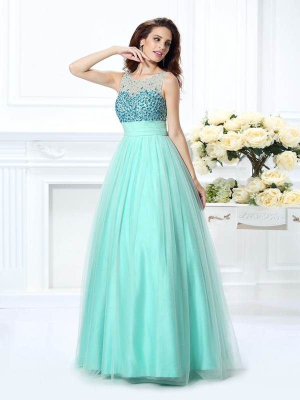 Ball Gown Bateau Chiffon With Beading Sleeveless Long Quinceanera Dresses