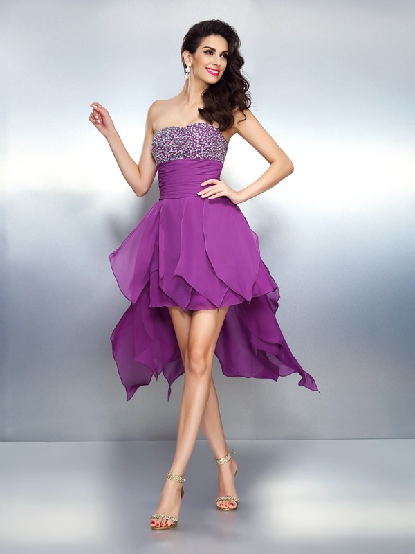 A-Line/Princess Strapless Chiffon With Beading Sleeveless High Low Dresses