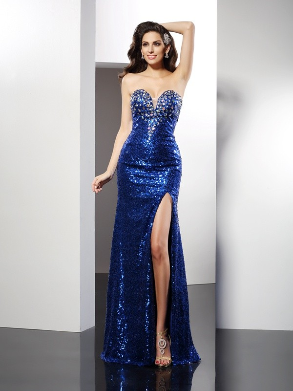 Sequin Sheath/Column Sweetheart With Sequins Sleeveless Long Dresses