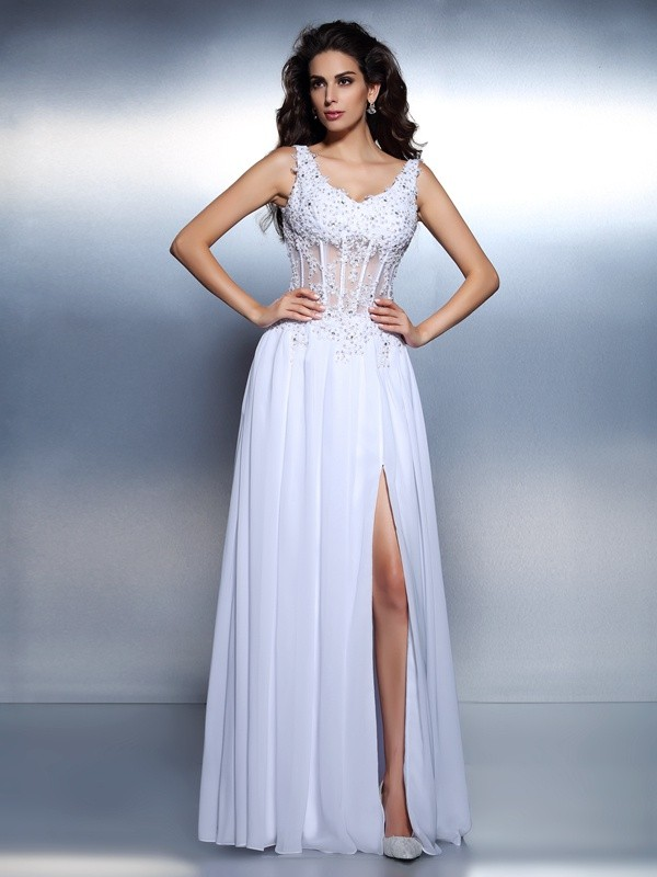 A-Line/Princess Scoop With Applique Sleeveless Long Chiffon Dresses