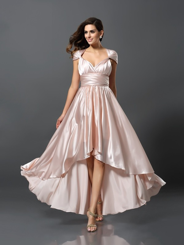 Sheath/Column Silk like Satin Sleeveless High Low Bridesmaid Dresses