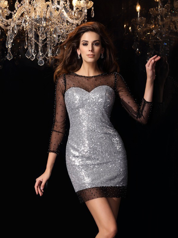 Sheath/Column Scoop 3/4 Sleeves Short With Beading Sequins Cocktail Dresses
