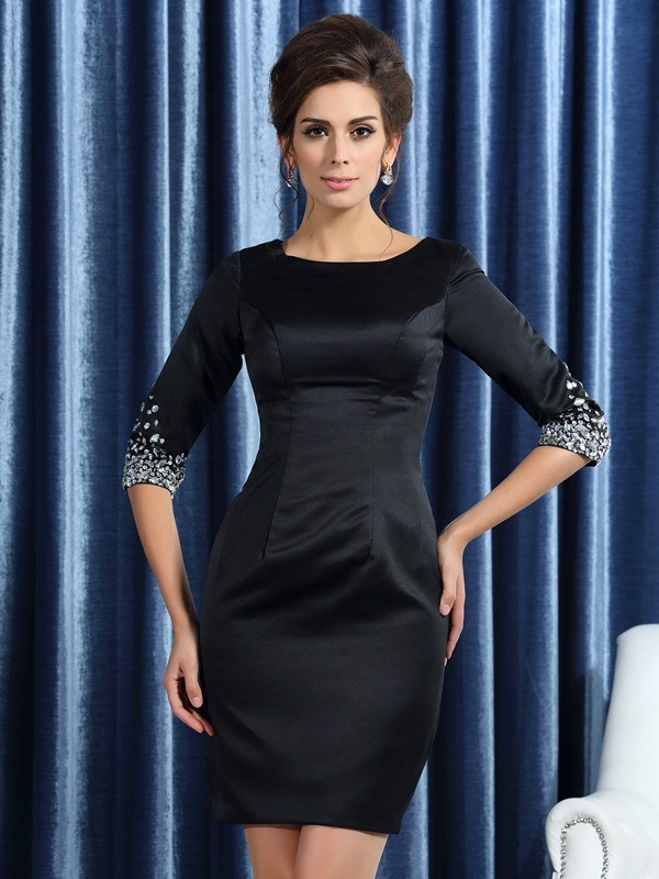 Sheath/Column Square Satin 1/2 Sleeves Short Mother of the Bride Dresses With Beading